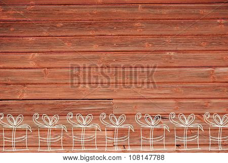 Concept Illustration Of  Many Gifts, Copy Space, Wooden Background