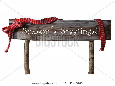 Brown Isolated Christmas Sign Seasons Greetings, Red Ribbon
