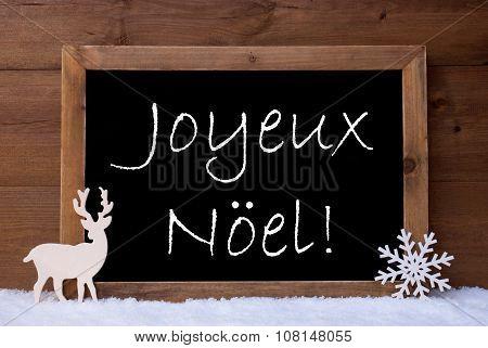 Card, Blackboard, Snow, Reindeer, Joyeux Noel Mean Christmas