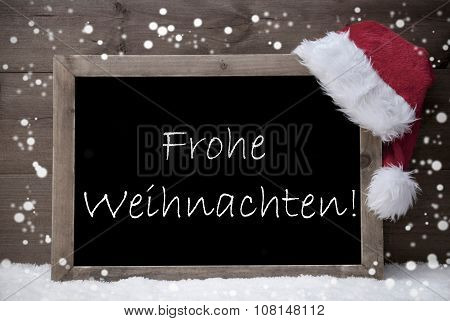 Gray Card, Chalkboard, Frohe Weihnachten Mean Merry Christmas