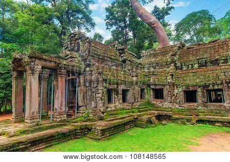Ta Prohm, Part Of Ancient  Khmer Temple Complex In Jungle.