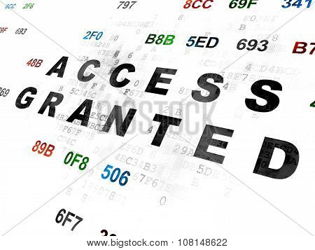 Protection concept: Access Granted on Digital background