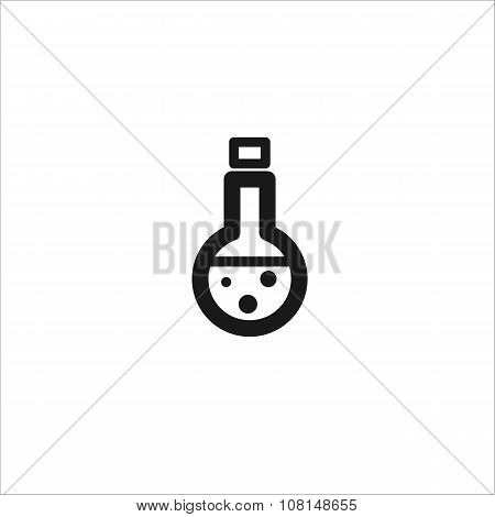 Black Medical Beaker Vector Line Icon