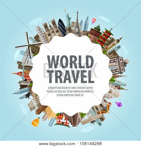 World travel. Collection of famous architecture of the world