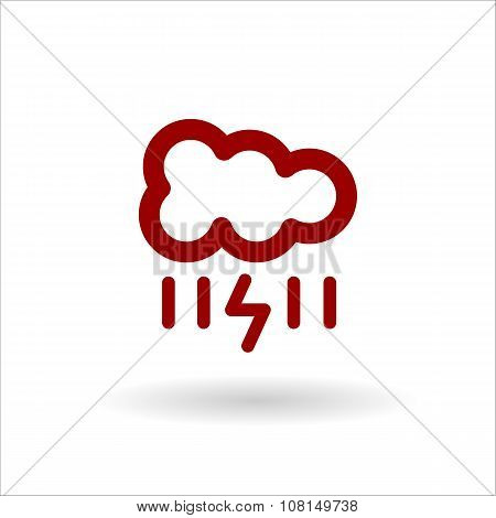 Color Cloud With Lightning And Rain Vector Line Icon