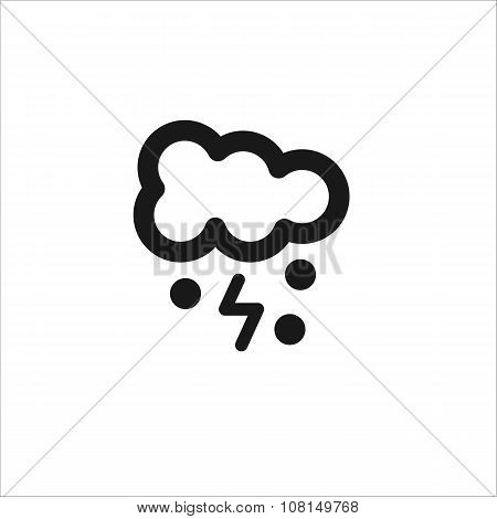 Black Cloud Lightning And Snow Vector Line Icon
