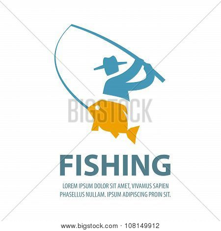 fishing vector logo design template. fisherman, fisher, fish or angling, sport icons