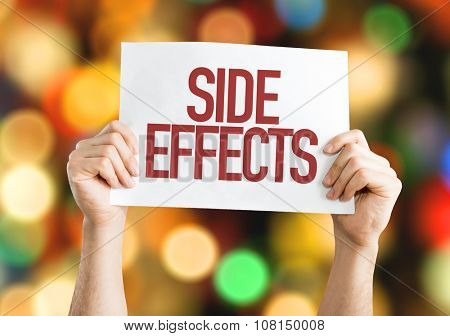 Side Effects placard with bokeh background