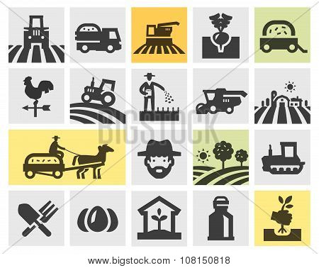farming icons set. vector illustration