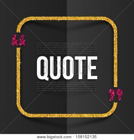 Pink and golden quote frame with place for your text at black folded paper background