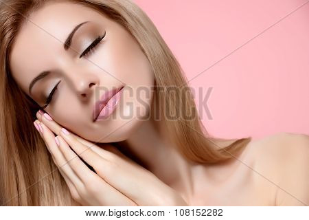 Beauty portrait woman with eyes closed, sleeping