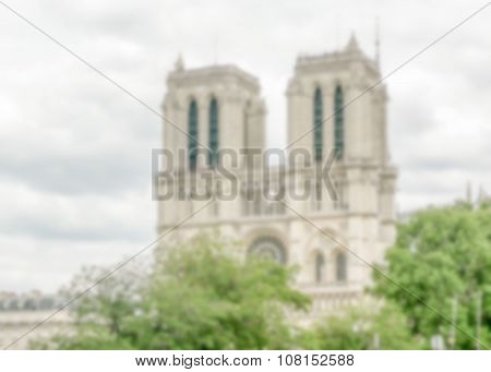 Defocused Background With The Cathedral Of Notre Dame De Paris, France