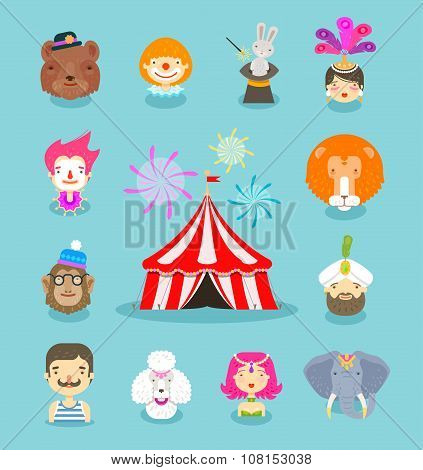 Circus icons set. Collection of elements of clown, circus animals, circus tent and others