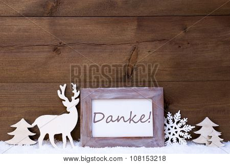 Shabby Chic Christmas Card With Danke Means Thank You