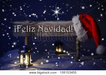 Sign Candlelight Santa Hat Feliz Navidad Means Merry Christmas