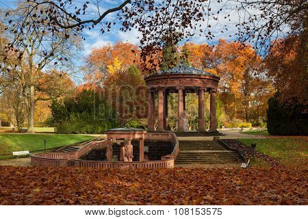 Temple In The Park Of Bad Homburg In Fall