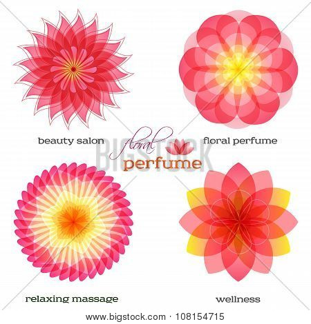 Pink-flowers-set-logo-icon-floral-fragrance