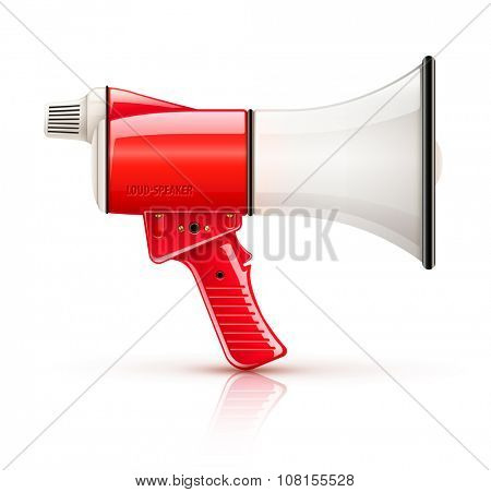 Speaking-trumpet speaking-trumpet loud-speaker for voice amplification. vector illustration. Isolated on white background. Transparent objects used for lights and shadows drawing.
