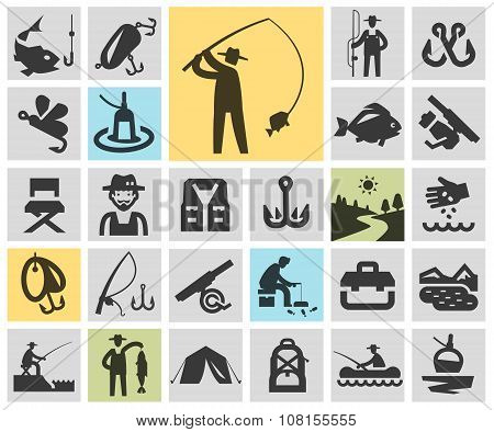 fishing set black icons. signs and symbols