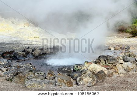 Hot Springs In Furnas, Sao Miguel Island, Azores, Portugal
