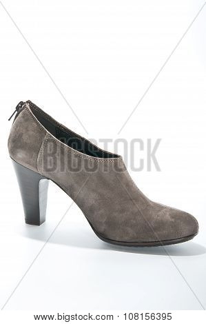 Women's Suede Ankle Boots With High Heels..