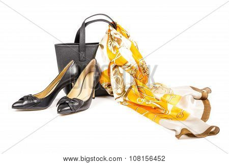 High Heel Shoes with Hand Bag and Silk Scarf