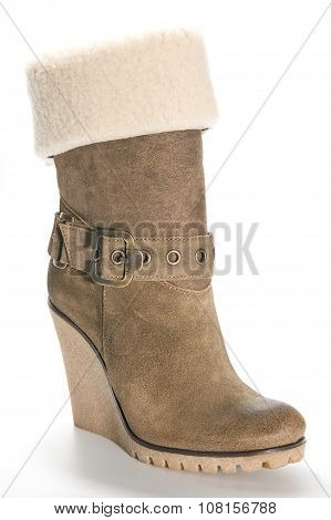 Women's Beige Suede Boots On A High Platform Sole..