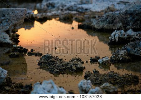 The sunset in a puddle