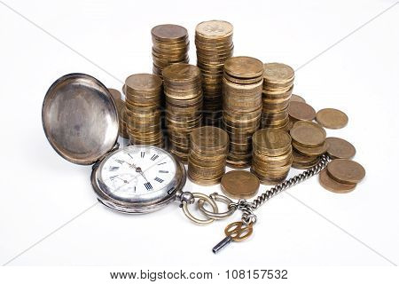 Coins and Antique pocket watch on white background.