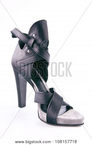 Women's Leather Shoes With High Heels..