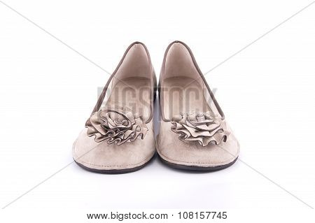 Women Summer Moccasins Decorated With Fabric Flowers..