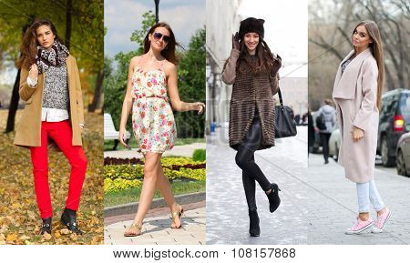 Collage of four different models in fashionable clothes for the seasons, outdoors