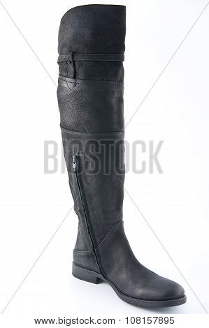Female Black Leather Boots With Low Heels..
