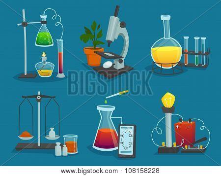 Design  Icons Set Of  Laboratory Equipment