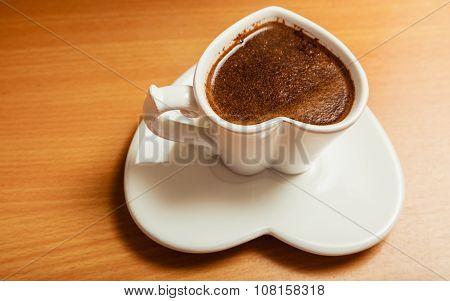 Coffee In Heart Shaped Cup Mug. Caffeine Energy.