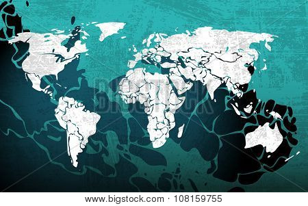 Grunge blue worldmap