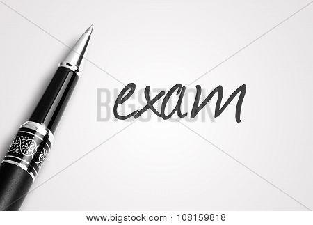 Pen Writes Exam On Paper