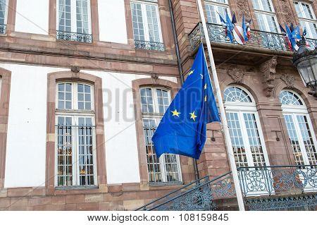 Half-mast Flags In Strasbourg City Hall mairie