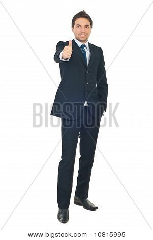 Handsome Businessman Give Thumbs
