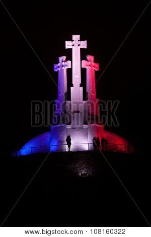 Three Crosses Monument In French National Colors