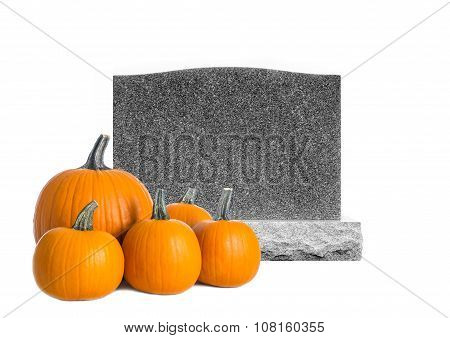 Grave Stone Isolated on White and Five Pumpkins