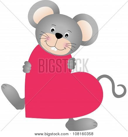 Mouse on heart shaped