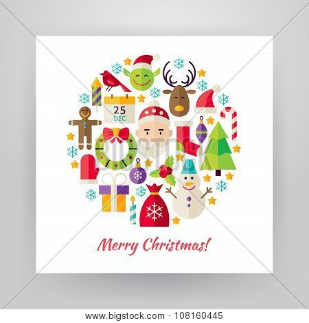 Flat Style Circle Vector Set Of Merry Christmas Objects Over White Paper