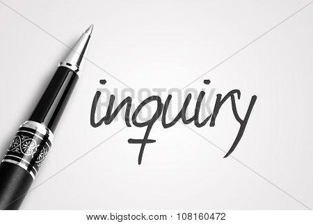 Black Pen Writes Inquiry On White Blank Paper