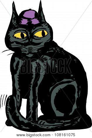 Black Cat With Hat