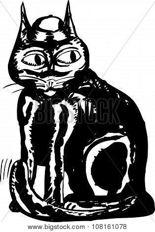 Black Ink Cat Drawing