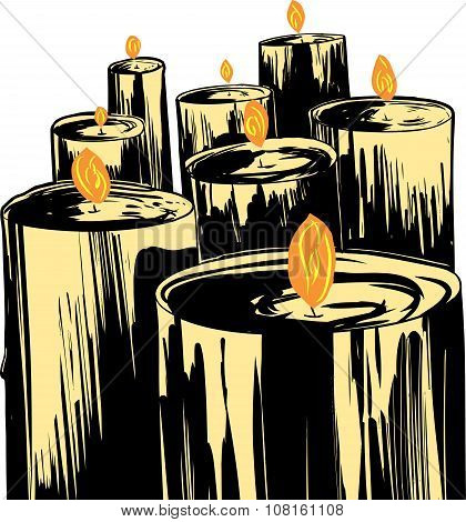 Cartoon Candles Over White