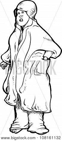 Tired Female In Robe