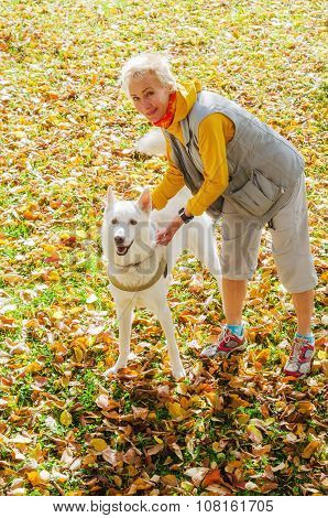 Woman With Dog Walking On A Sunny Autumn Day