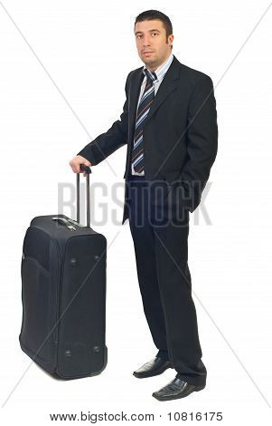 Businessman With Luggage Waiting